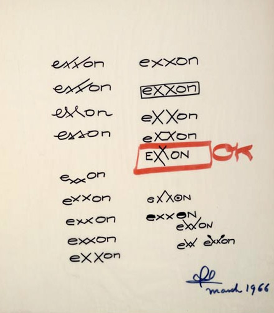 Design Drawing for a logo for the Exxon Corporation