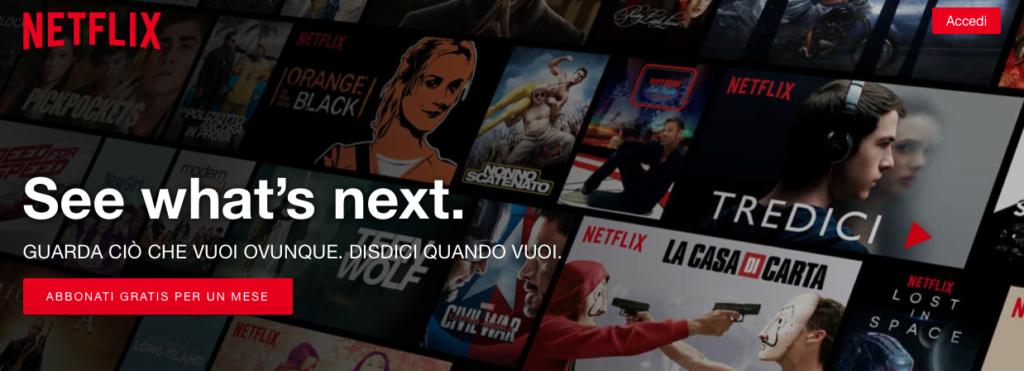 Netflix esempio home page