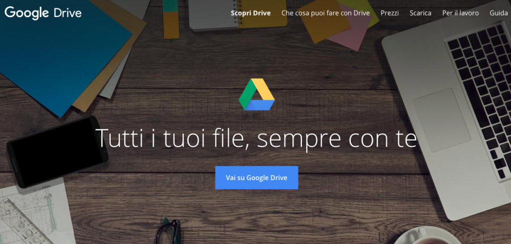 Google Drive tagline home page