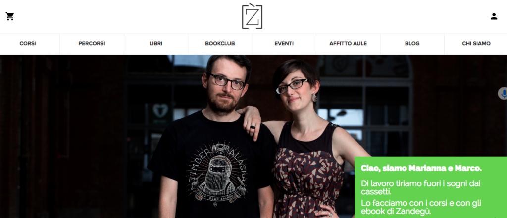 Zandegu esempio testo home page